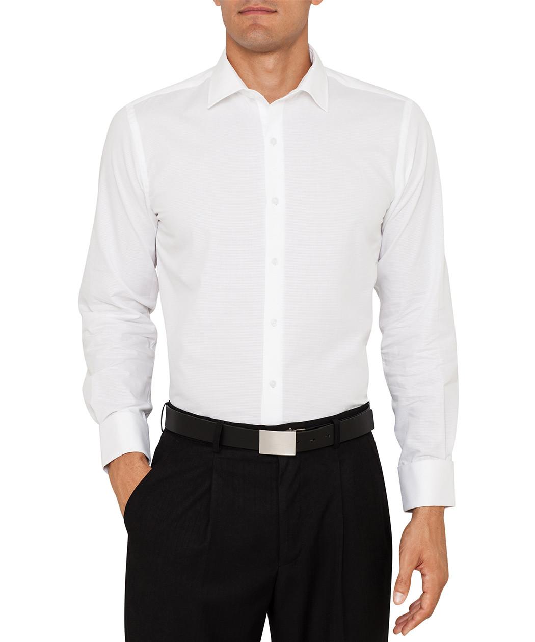 Van heusen cotton textured weave slim fit dress shirt for Van heusen dress shirts