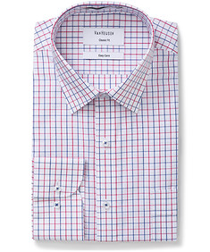Classic Relaxed Fit Shirt Red and Navy Window Pane Check