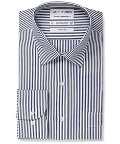 Classic Relaxed Fit Shirt Indigo Vertical Stripe