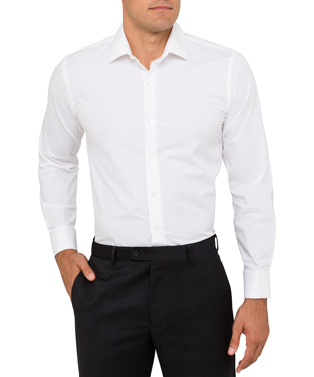 Van heusen slim fit cotton white shirt van heusen for How to clean white dress shirts