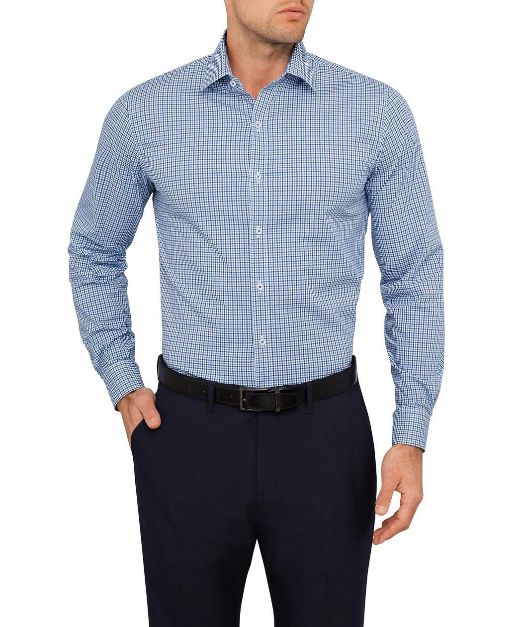Van Heusen Slim Fit Shirt Navy Black Check Mens Business