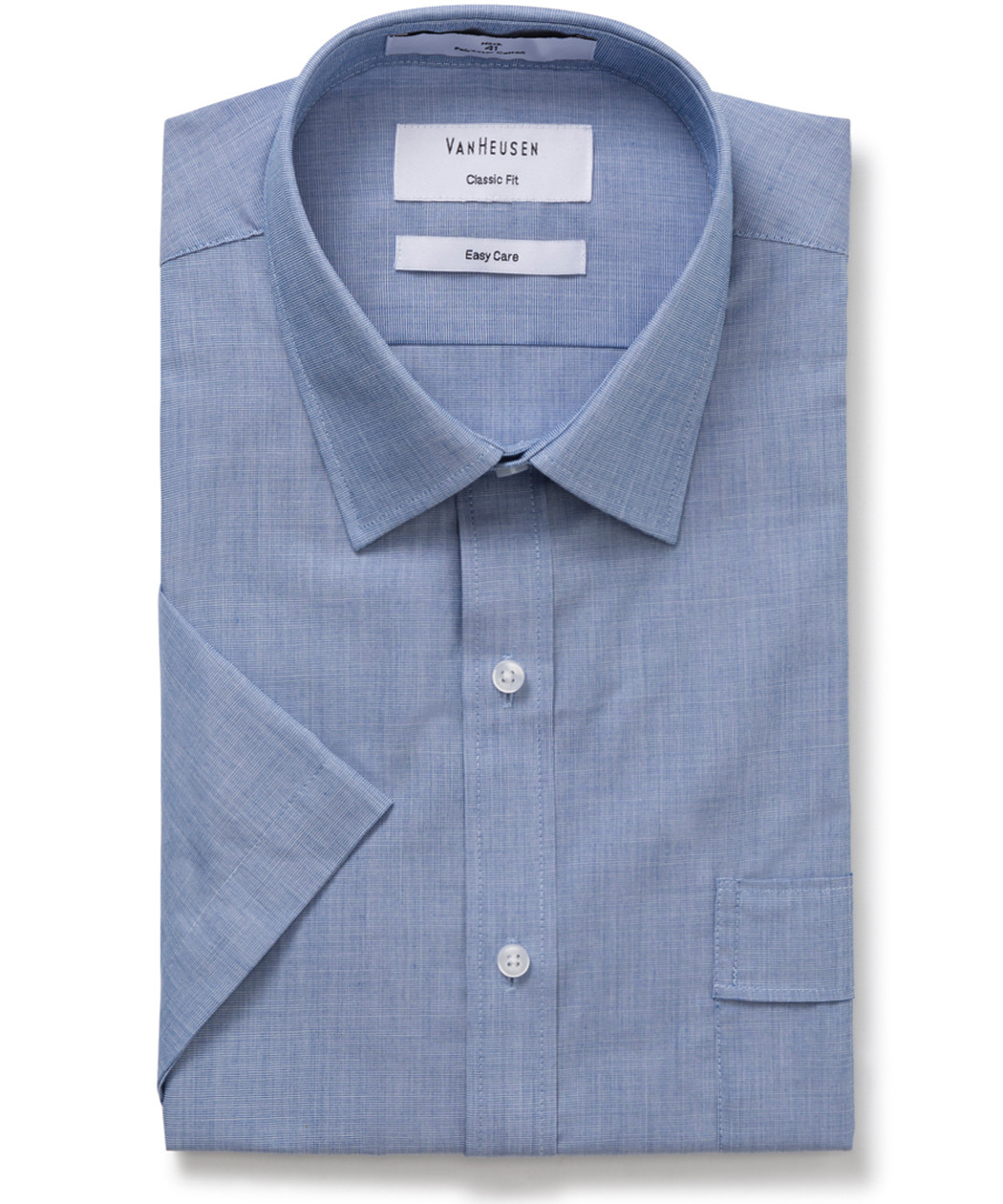 17b012467c Van Heusen. Classic Relaxed Fit Short Sleeve Shirt Royal Blue