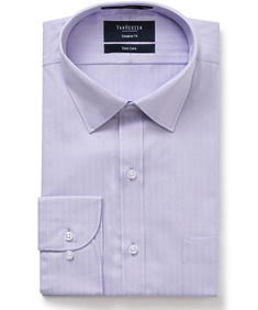 Euro Tailored Fit Herringbone Self Stripe Shirt
