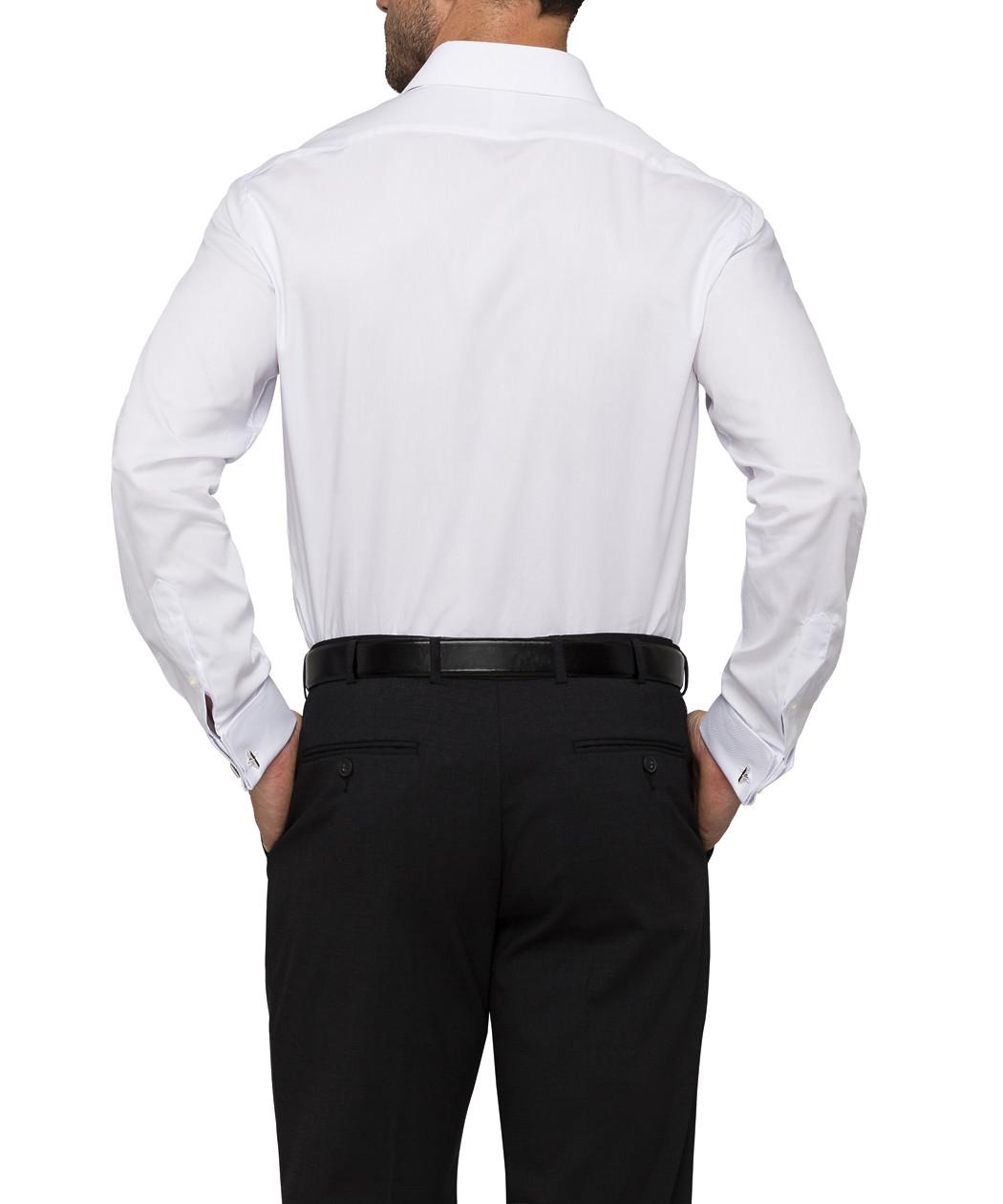 Van heusen cotton semi spread collar euro dinner shirt for Semi spread collar shirt