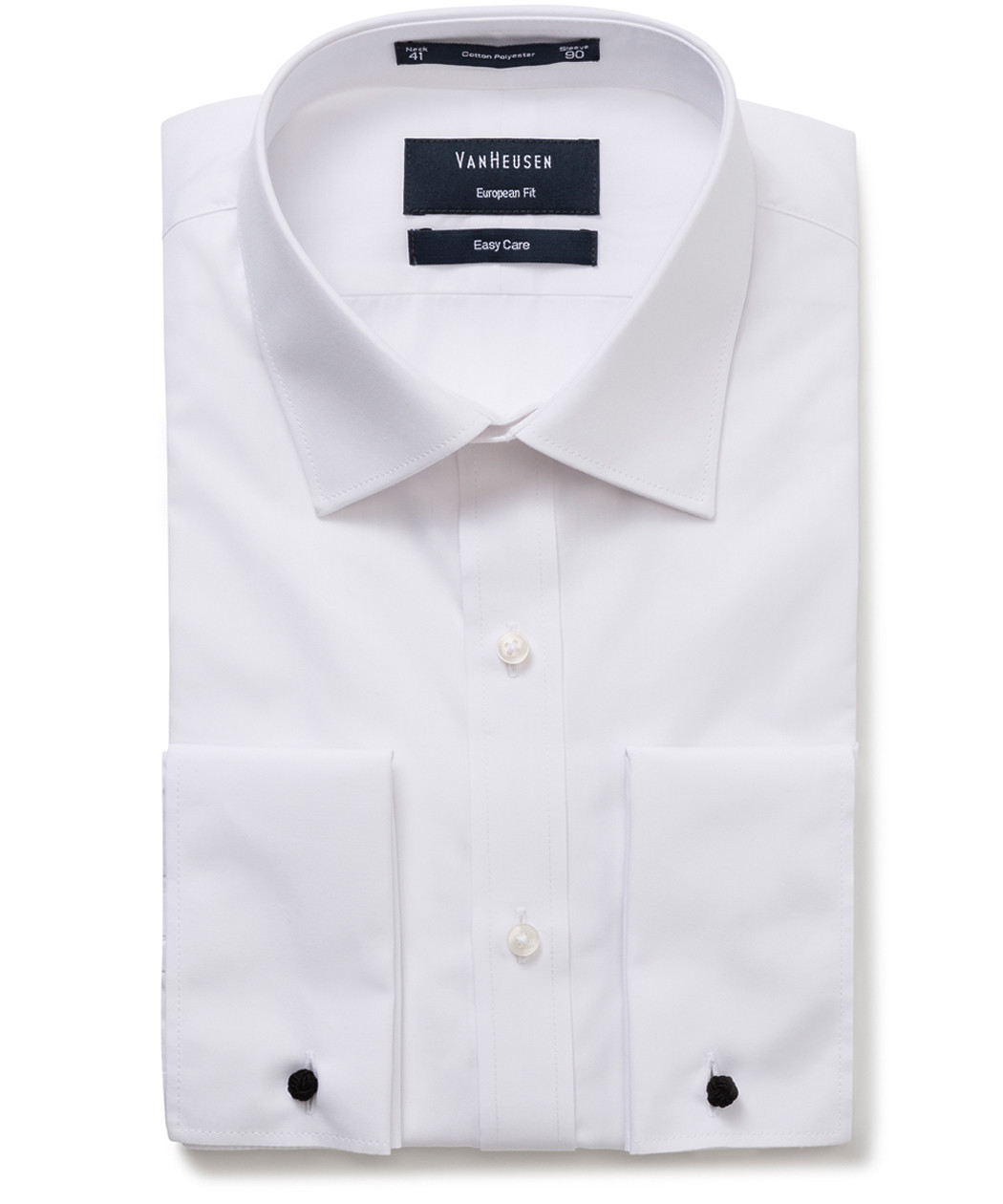 Van Heusen Mens Euro Tailored Fit Dinner Shirt Solid White French Cuff