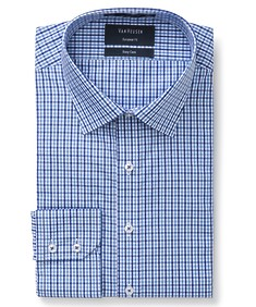 Euro Tailored Fit Shirt Navy Tonal Gingham