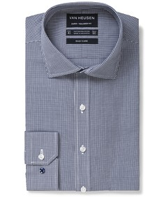 Euro Tailored Fit Shirt Navy Mini Gingham