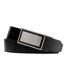 Mens Belt Black with Silver Detailed Belt Buckle