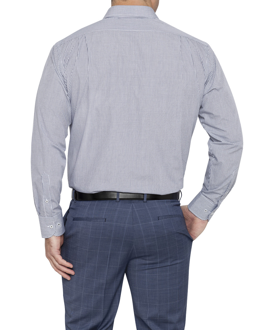 Mens classic fit shirt black and white check van heusen for Black and white check mens shirt