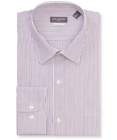 Classic Relaxed Fit Shirt Deep Purple Vertical Stripe