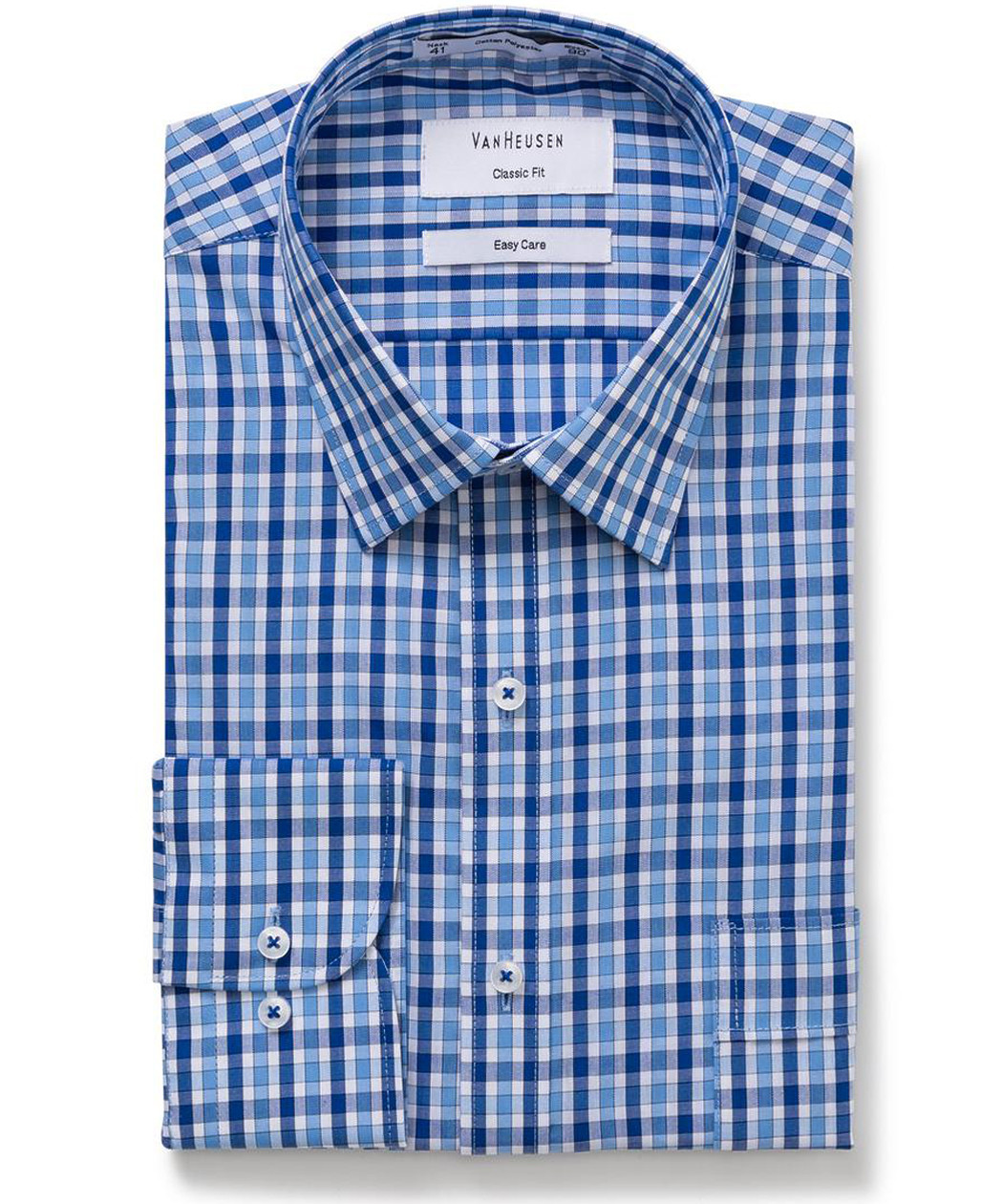 Van Heusen Classic Relaxed Fit Shirt Blue Large Check Mens