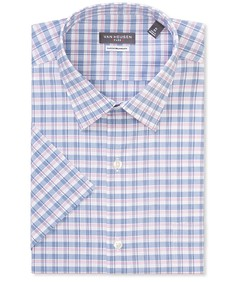 Classic Relaxed Fit Short Sleeve Shirt Blue Pink Check