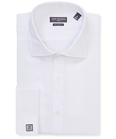 Euro Tailored Fit Shirt Solid White French Cuff