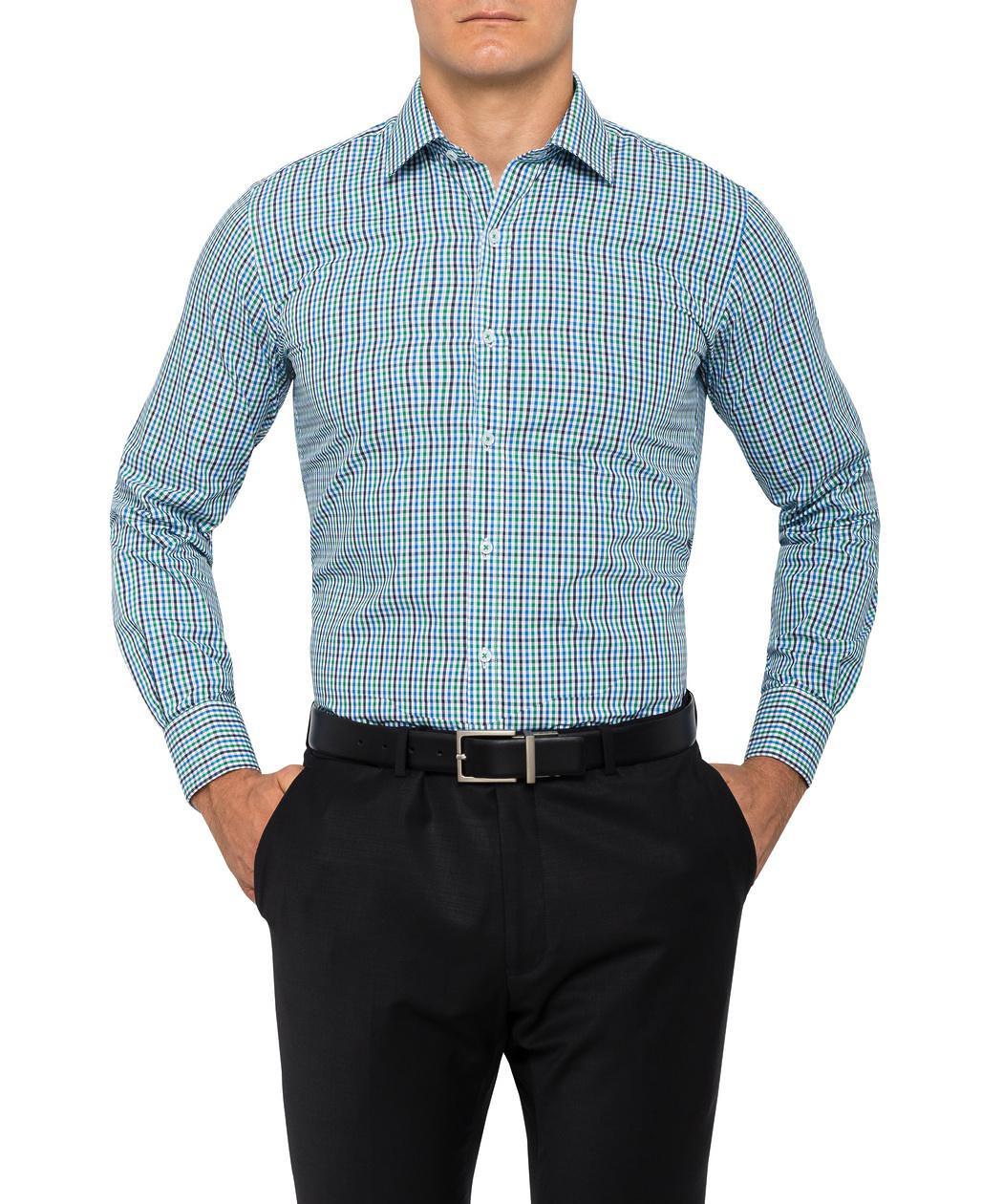 590097c2612 ... Mens European Fit Shirt Green Navy Check. Product Image · Image 1 ...
