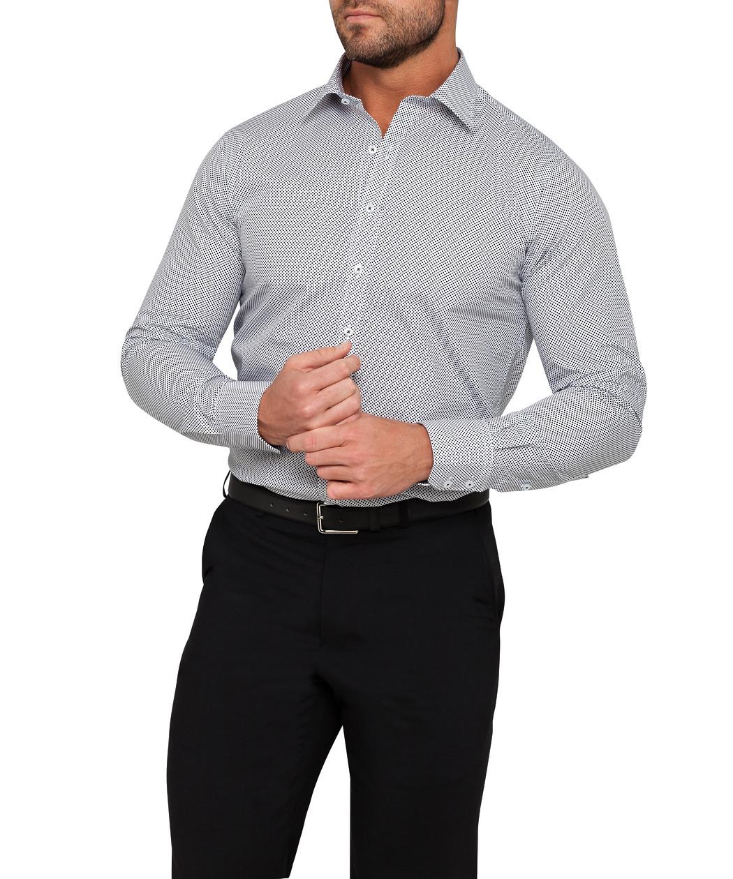 fce064bbae9d61 Mens Euro Fit Shirt White with Black Dot Print | Van Heusen Business ...