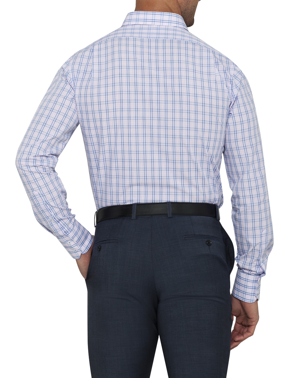 Mens Euro Fit Shirt Pink Blue Large Check Van Heusen