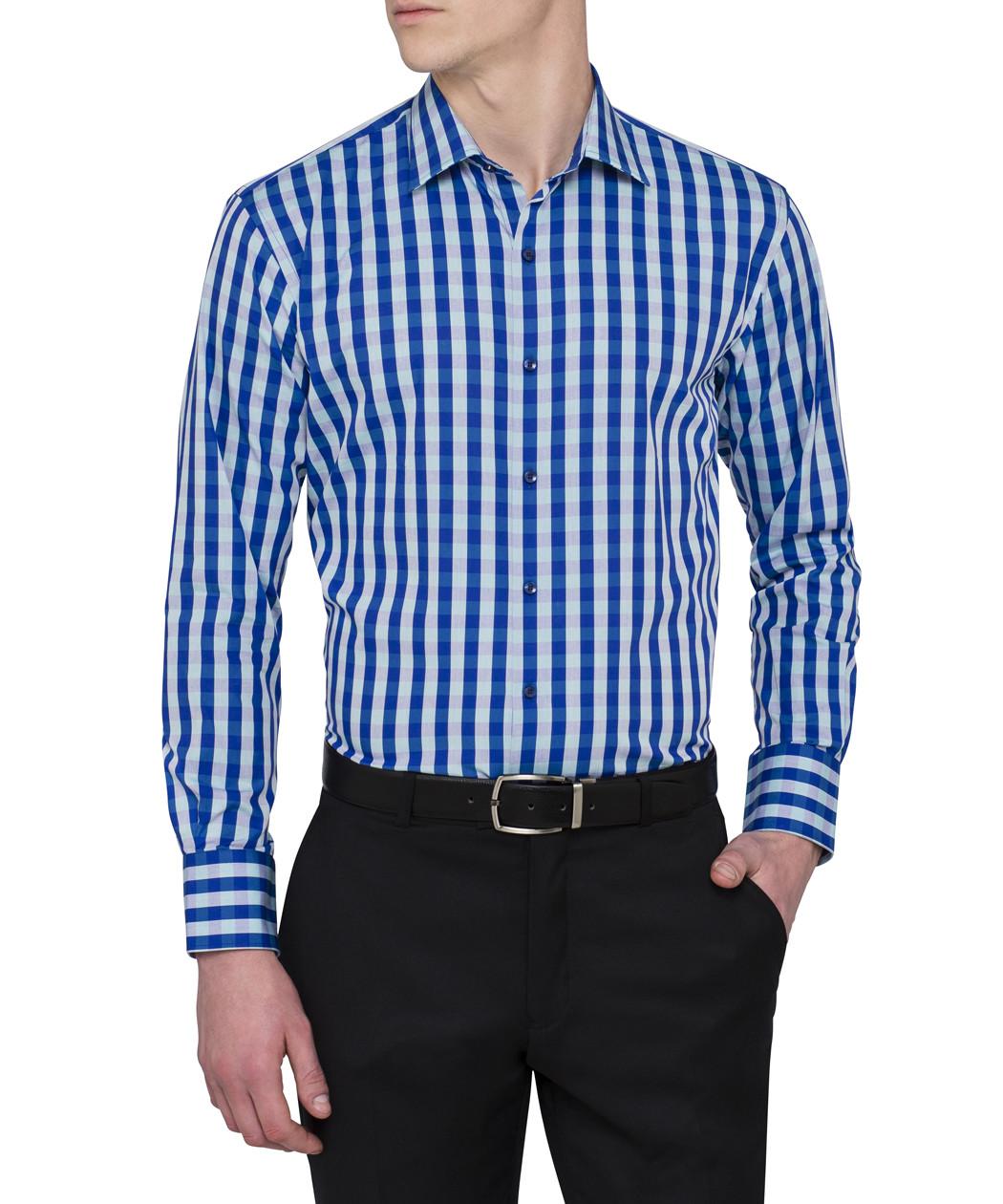 Van heusen blue green bold check euro fit shirt van for Van heusen dress shirts