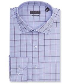 Euro Tailored Fit Shirt Purple Window Pane Check