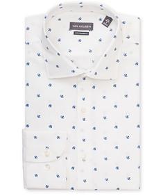 Euro Tailored Fit Shirt White Ground Blue Print