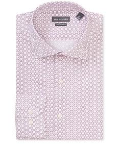 Euro Tailored Fit Shirt Grape Wine Geo Print