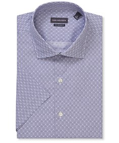 Euro Tailored Fit Short Sleeve Shirt Purple Circle Print