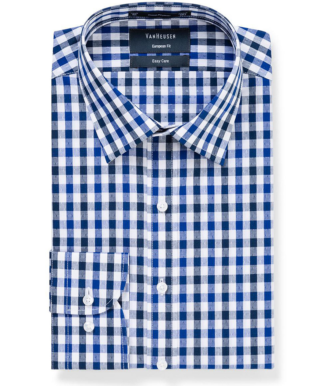 7c29902ec4f ... Mens Euro Fit Shirt Navy Large Check with Cross Design. Product Image ·  Image 1 ...