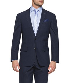 Black Label Classic Relaxed Fit Suit Jacket Navy Pinstripe