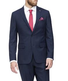 Euro Tailored Suit Jacket Navy Pinstripe