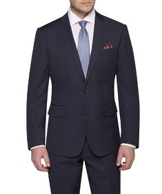 Euro Tailored Fit Suit Jacket Navy Diamond Etch