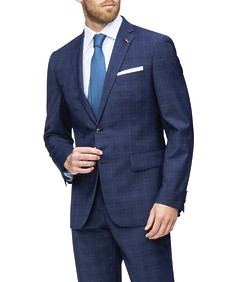 Euro Tailored Fit Suit Jacket Navy Window Pane Check
