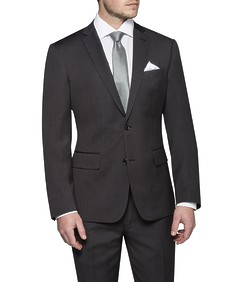 Euro Tailored Fit Suit Jacket Charcoal Birdseye
