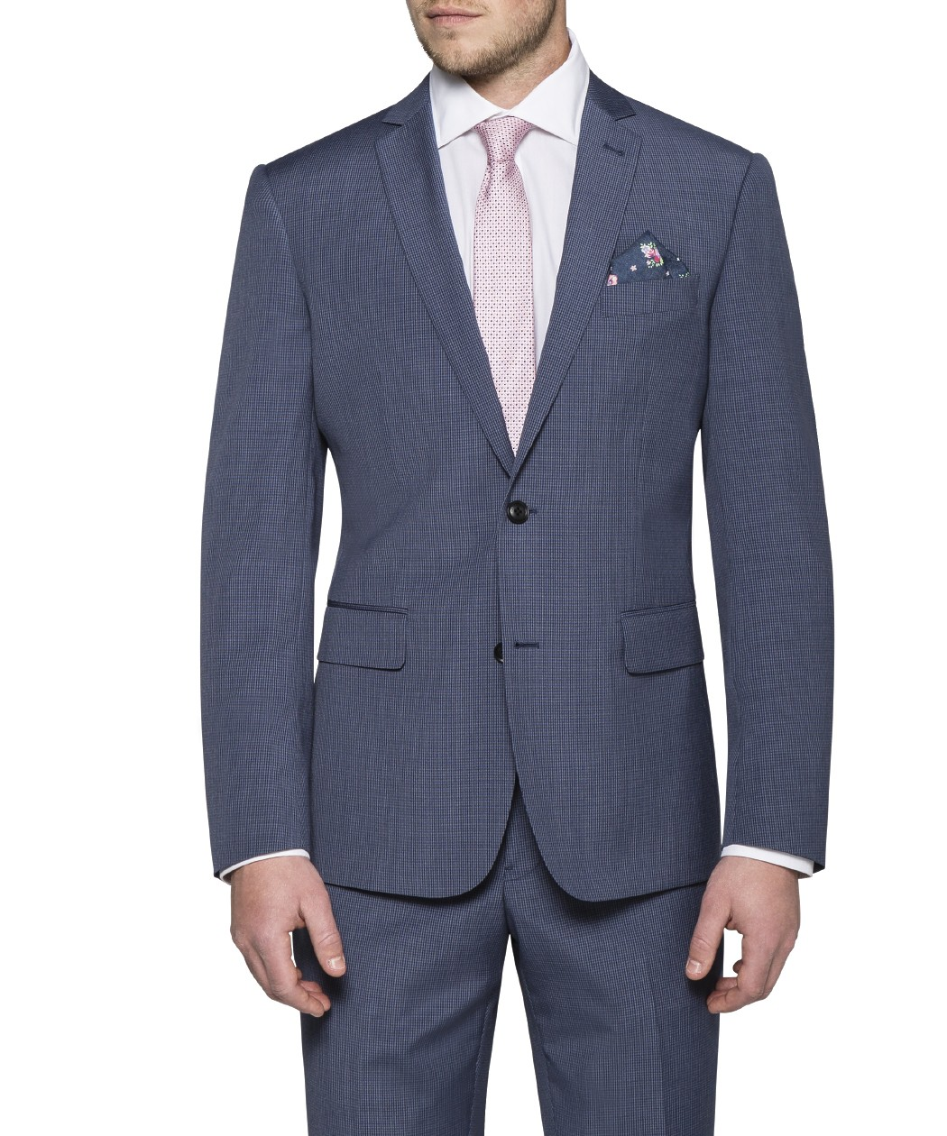 8c678967945 Slim Fit Suit Jacket Navy Blue Small Check