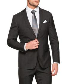 Slim Fit Suit Jacket Charcoal Pin Stripe