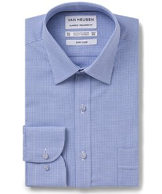 Classic Relaxed Fit  Shirt Blue Houndstooth Check