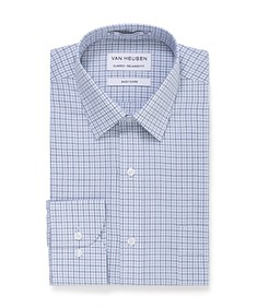 Classic Relaxed Fit Shirt Grey Blue Check