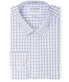 Classic Relaxed Fit Shirt  White Blue Large Window Check