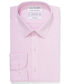 Classic Relaxed Fit Shirt Pink Self Stripe