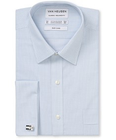 Classic Relaxed Fit Shirt Blue Stripe French Cuff