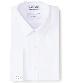 Classic Relaxed Fit Shirt French Cuff White Jacquard