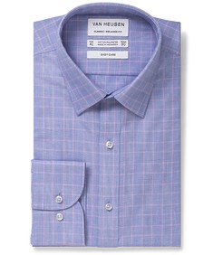 Classic Relaxed Fit Shirt Blue Pink Glen Check