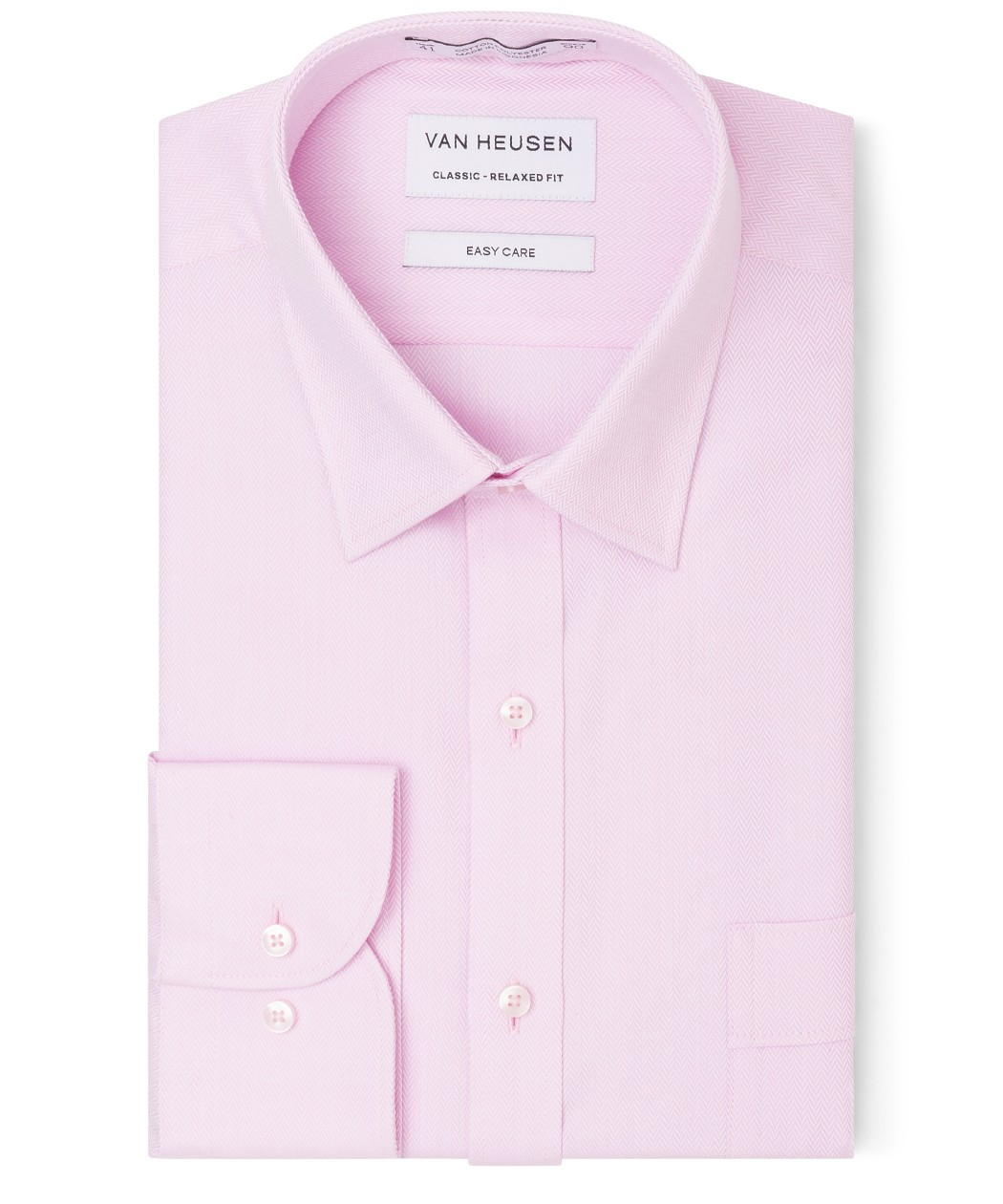 Classic Relaxed Fit Shirt Pink Herringbone Van Heusen Business