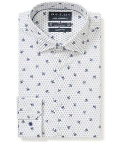 Euro Tailored Fit Shirt White Indigo Flower Print