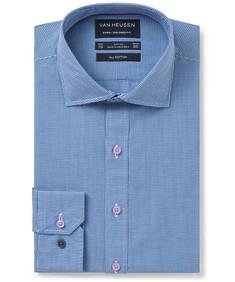 Euro Tailored Fit Shirt Blue Mini Check