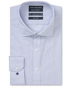 Euro Tailored Fit Shirt Royal Blue Vertical Stripe