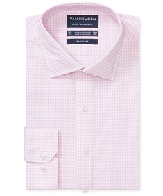 Euro Tailored Fit Shirt Pink Gingham Check