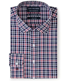 Euro Tailored Fit Shirt Red Navy Plaid