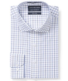 Euro Tailored Fit Shirt White with Indigo Window Check