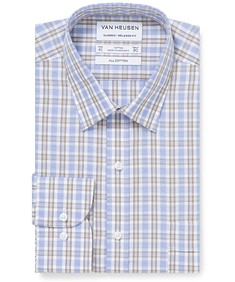 Classic Relaxed Fit Shirt Blue Tan Plaid Check
