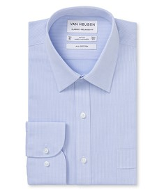 Classic Relaxed Fit Shirt Blue Dobby Stripe