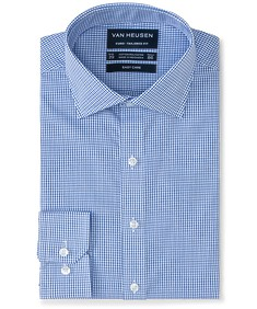 Euro Tailored Fit Shirt Bold Blue Check